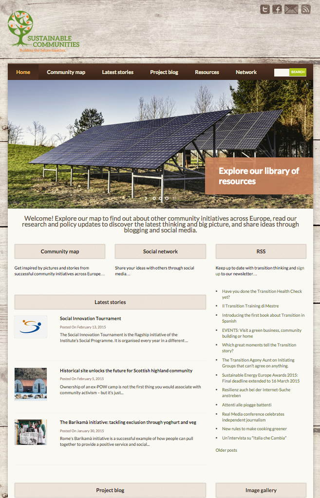 Screenshot of Sustainable Communities website
